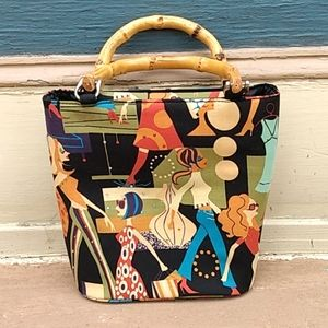 Mod Printed Cloth Purse with Bamboo Handles